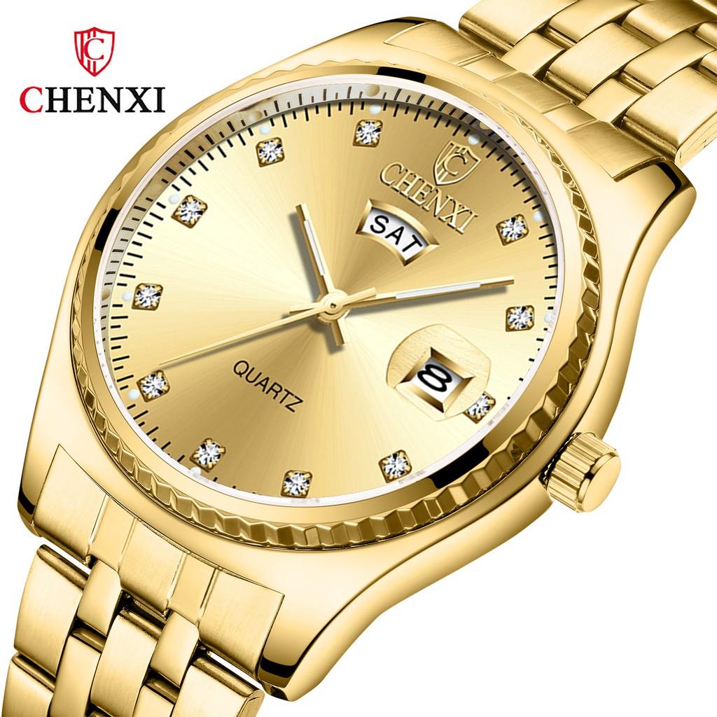 Đồng hồ nam nữ Chenxi -Đồng hồ nam dây thép đúc đặc không gỉ-Mặt chống xước, Có lịch thứ và ngày luôn. ( Mã: CX03)