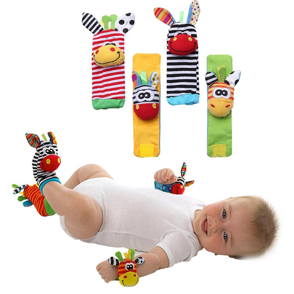 4pcs Infant Baby Foot Socks Wrist Bell Rattle Soft Toy Cartoon Animal Toddler Toys