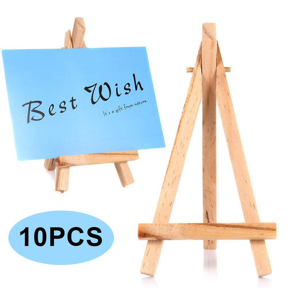 10pcs Mini Wooden Cafe Table Number Easel Wedding Place Name Holder Mobile Stand