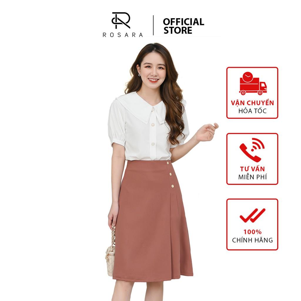 [Mã WABRLOW5 giảm 15% đơn 300K] Chân váy thời trang nữ thiết kế vạt 3 cúc Rosara S41