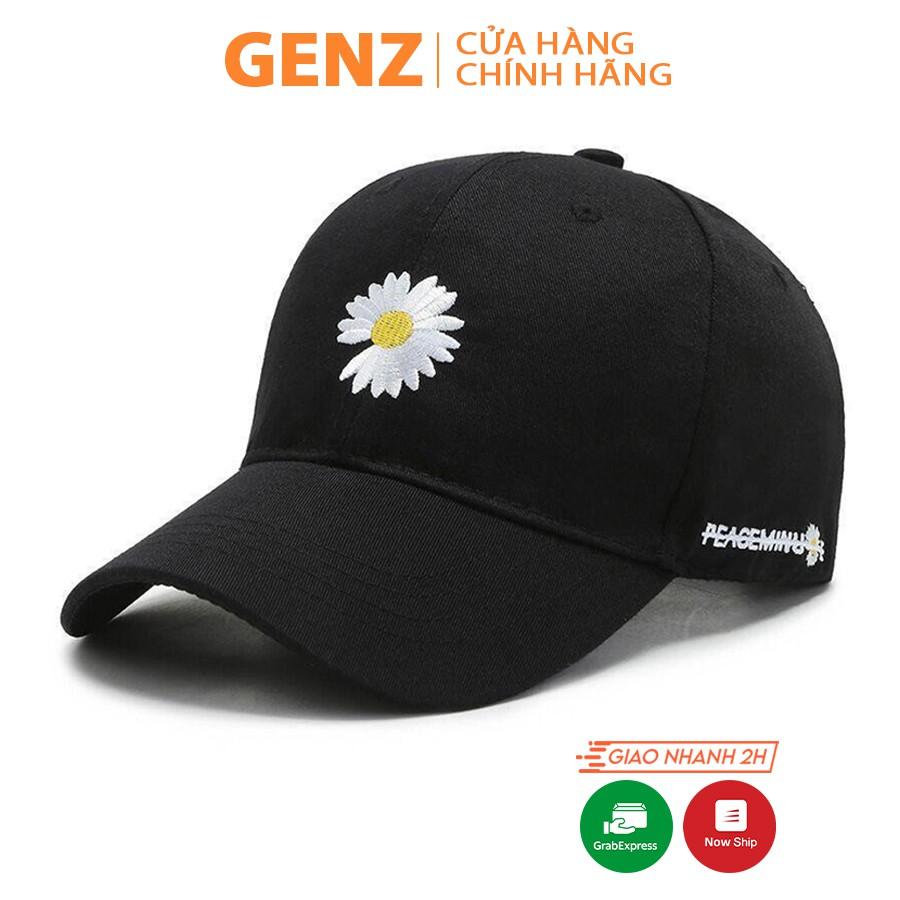 Nón kết Unisex GENZ phong cách Ulzzang thêu hoa cúc nhiều màu ZA001