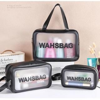 Set 3 túi nhựa trong đựng mỹ phẩm Wahsbag du lịch, đi chơi, đi học
