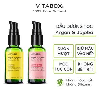 Dầu dưỡng tóc VITABOX Argan Jojoba – dành cho tóc khô xơ, hư tổn, uốn nhuộm chẻ ngọn giúp nhanh mọc tóc con, giữ nếp