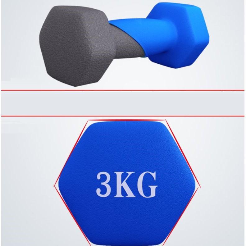 Bộ cặp tạ tay Vinsa 3kg bọc cao su (Tổng 6kg)