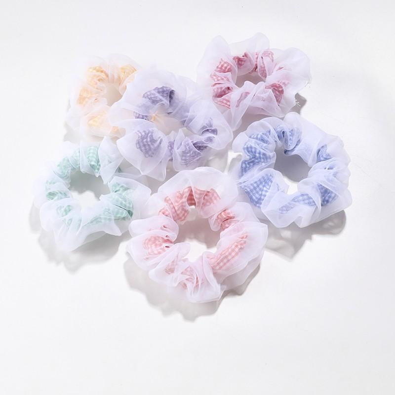 COD CHDM XiaoboACC Dây Buộc Tóc Bọc Vải Gạc Họa Tiết Lưới Màu Kẹo Thời Trang Hàn Quốc