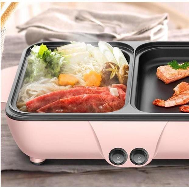 Bếp Lẩu Nướng 2 Ngăn Nồi Lẩu Mini, Nồi Lẩu Kiêm Nướng Cofy 2 in 1 Đa Năng Công Nghệ Hàn Quốc