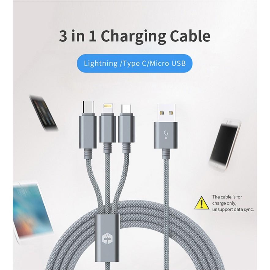 Cable sạc 3 trong 1 MarsCable Lightning / Micro USB / Type C hàng chính hãng Singapor