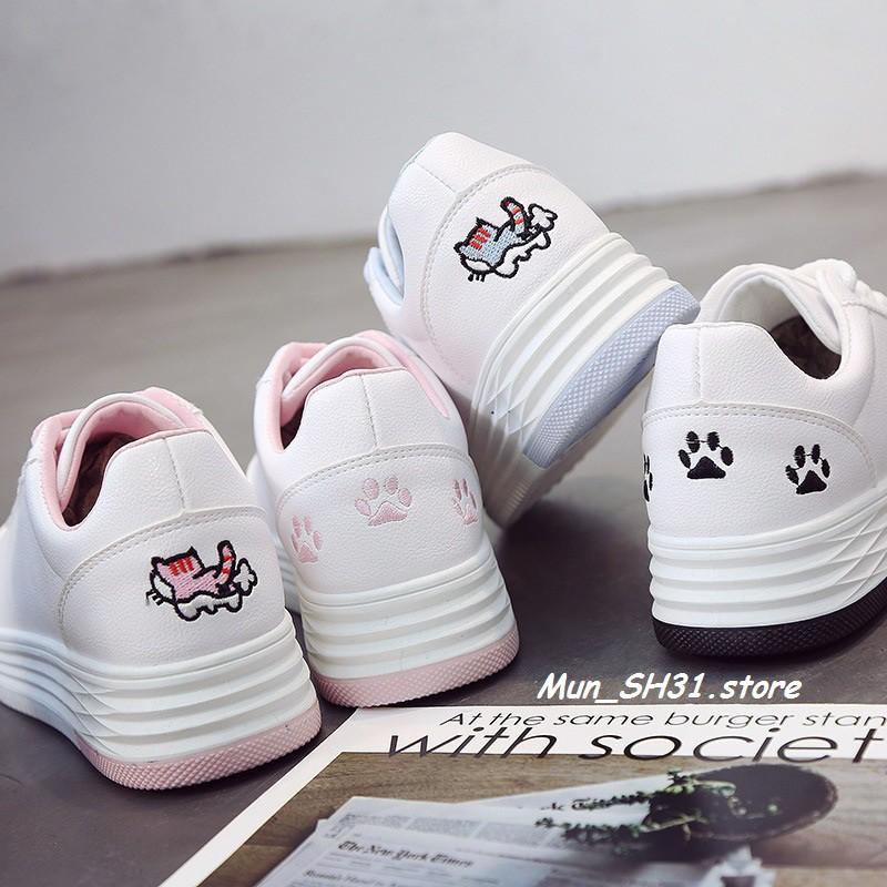 Giày thể thao nữ màu trắng, điểm hình mèo dễ thương - 3403726 , 946594270 , 322_946594270 , 230300 , Giay-the-thao-nu-mau-trang-diem-hinh-meo-de-thuong-322_946594270 , shopee.vn , Giày thể thao nữ màu trắng, điểm hình mèo dễ thương