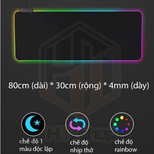 Bàn Di Chuột RGB, Lót Chuột Pad RGB Loại Lớn 80x30cmx4mm Giá chỉ 255.000₫
