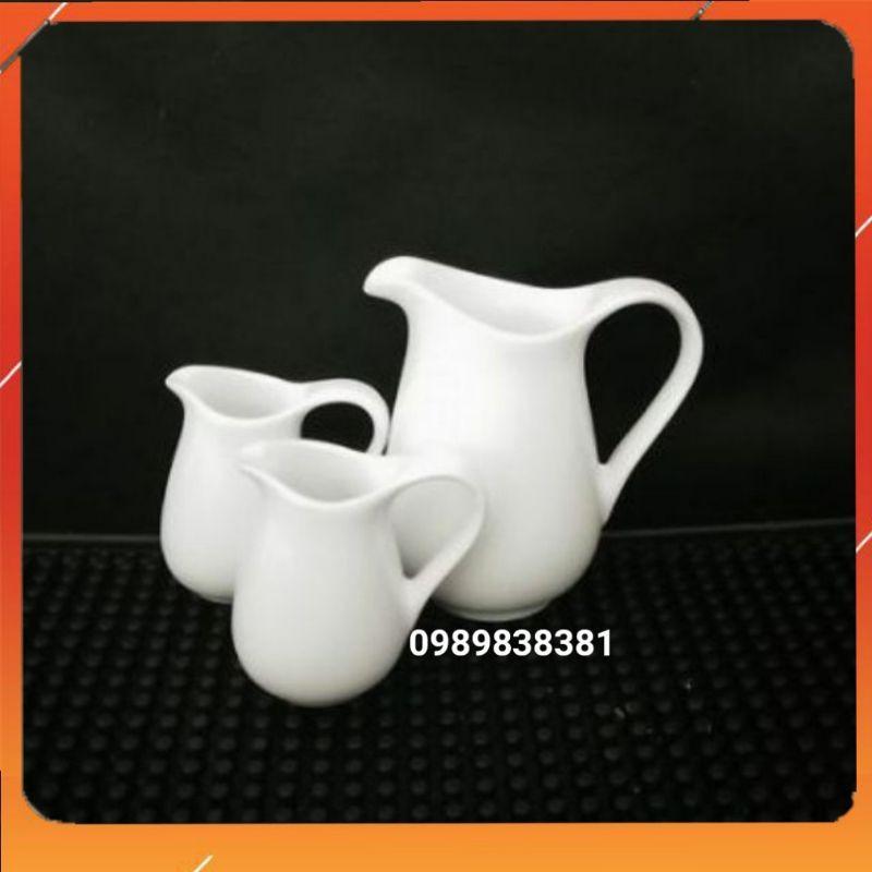 Ly rót sữa sứ trắng đủ size - Bình rót sữa Milk Jar
