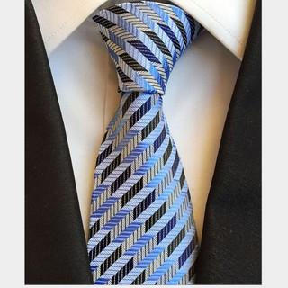 Cà vạt nam đẹp FITTOP CAVAT-038 vằn xanh trắng