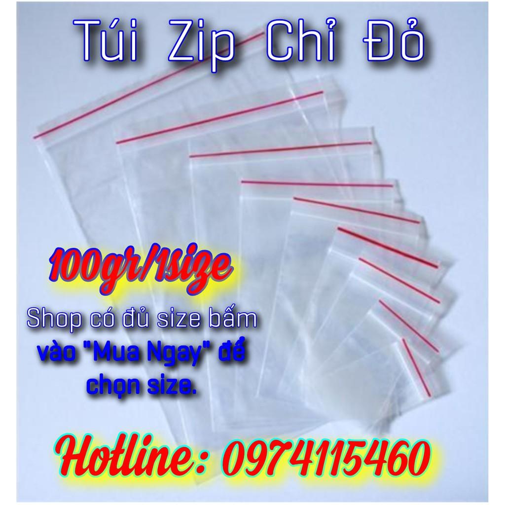 [Mã 267FMCGSALE giảm 8% đơn 500K] túi zip chỉ đỏ (100gr/ gói)