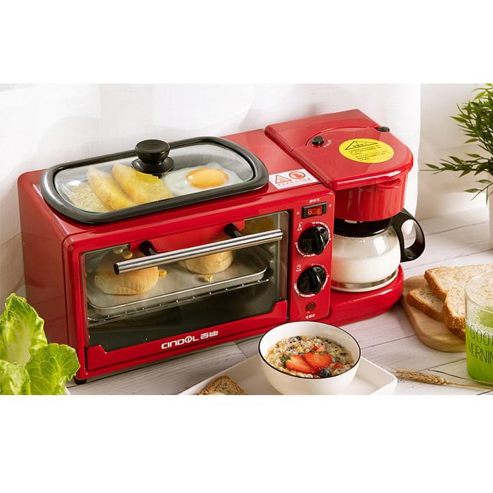 Lò nướng bánh mỳ đa năng kèm ấm đun nước cao cấp nhỏ gọn siêu xinh Máy làm bữa sáng