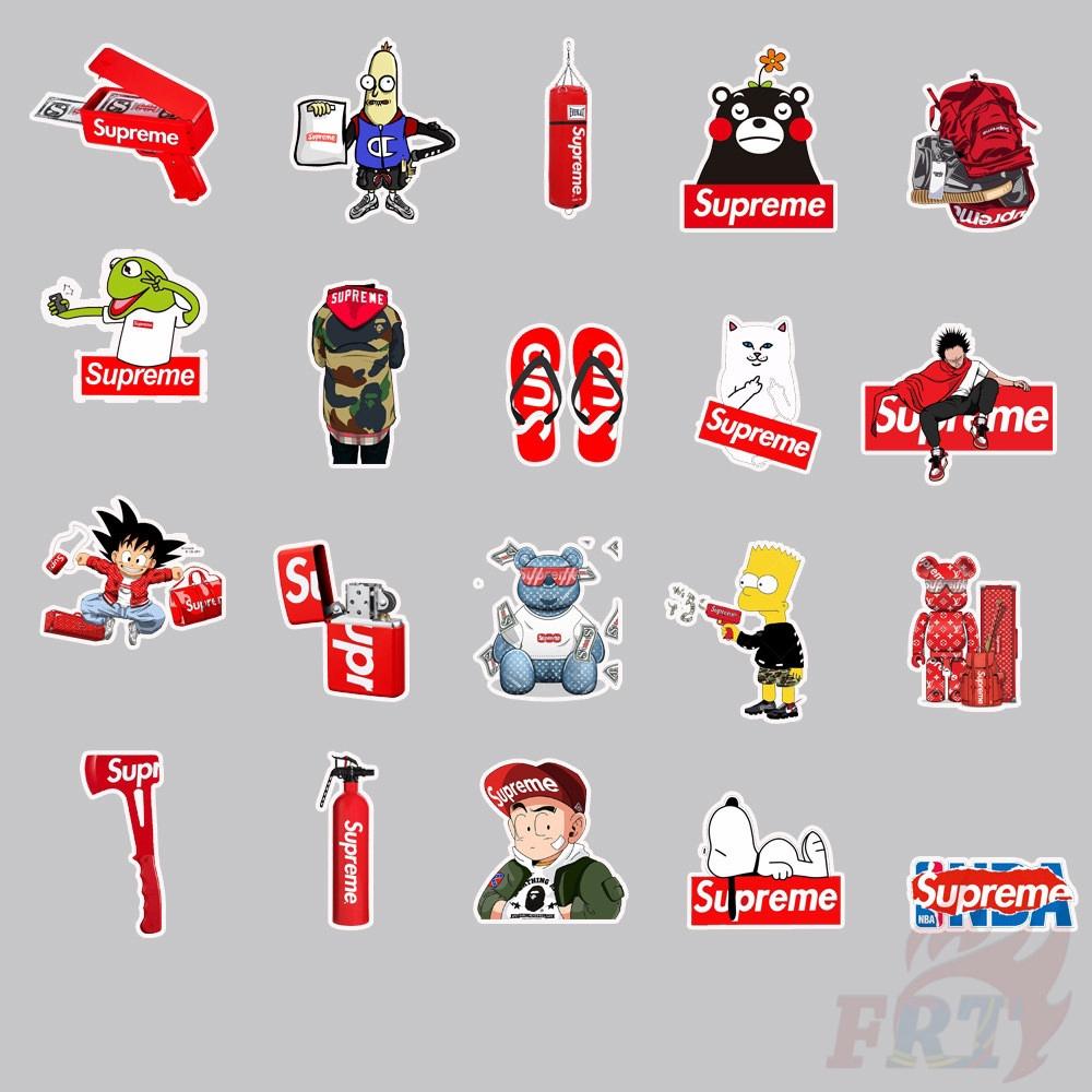 Set 49 hình dán trang trí hành lý/ ván trượt/ laptop họa tiết chủ đề Supreme độc đáo