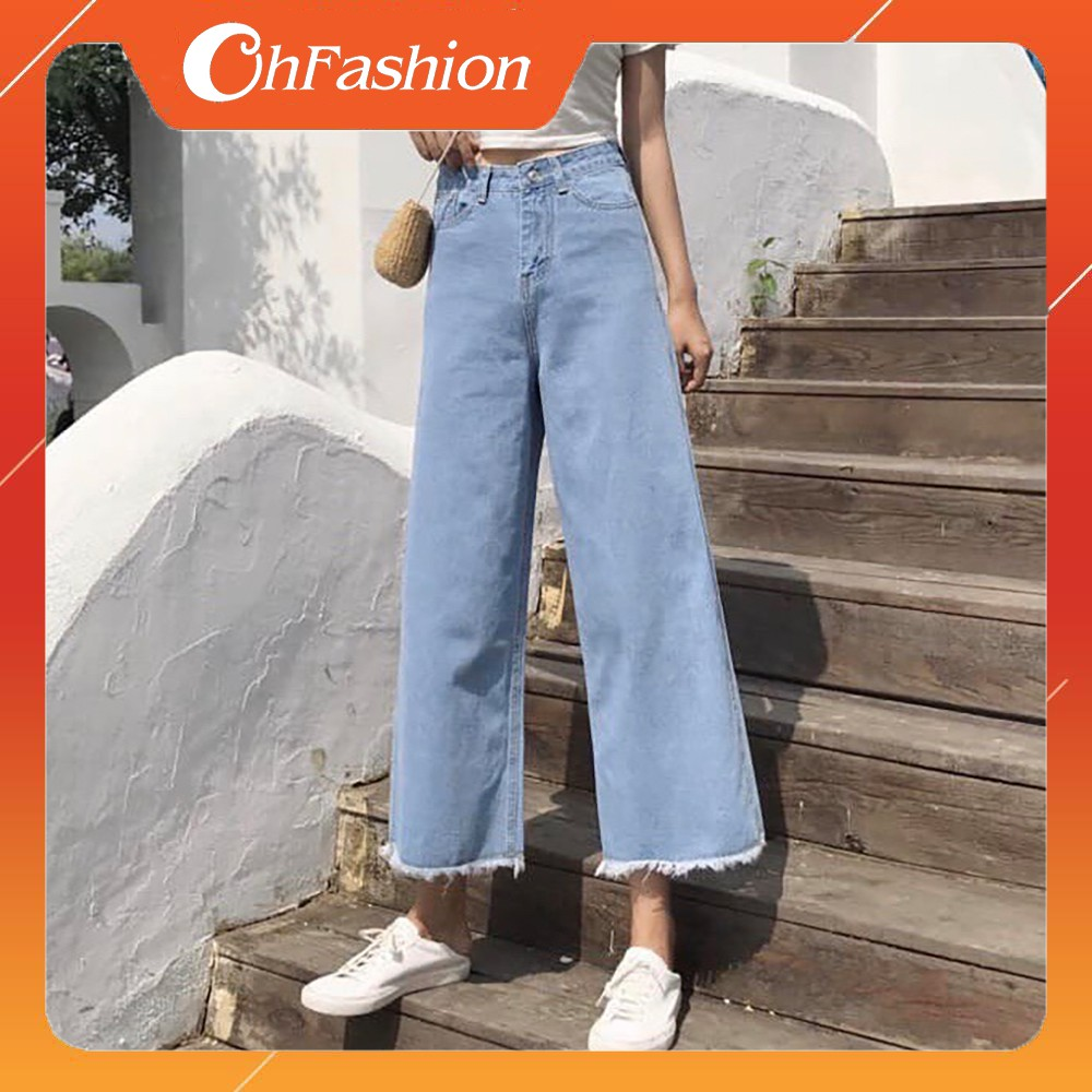 [Mã 1010FASHIONSALE1110 giảm 10K đơn 50K] Quần Jeans Nữ Ống Rộng OHS3041