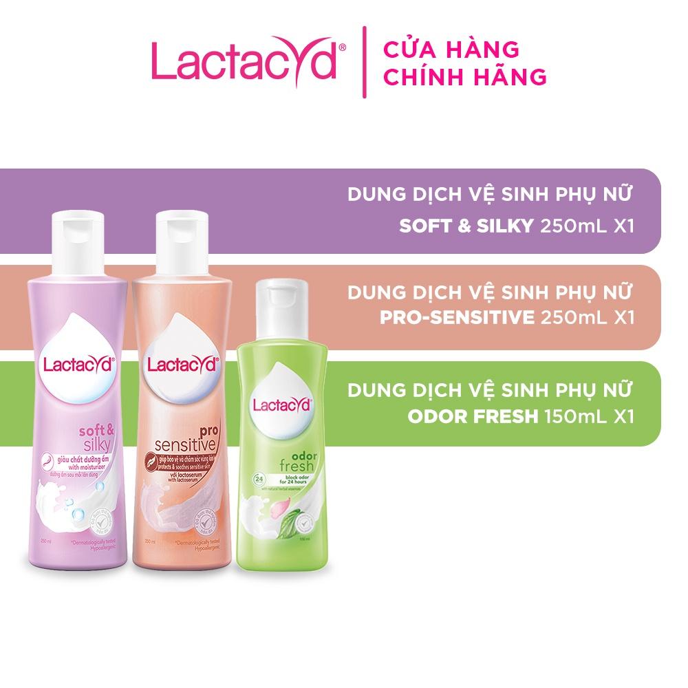 Bộ Dung Dịch Vệ Sinh Lactacyd Soft & Silky Dưỡng Ẩm 250ml + Odor Fresh Ngăn Mùi 150ml + Pro Sensitive Da Nhạy Cảm 250ml