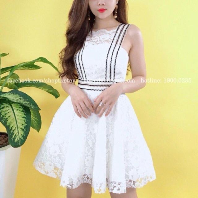 Đầm ren phối viền đen cực xinh nạ