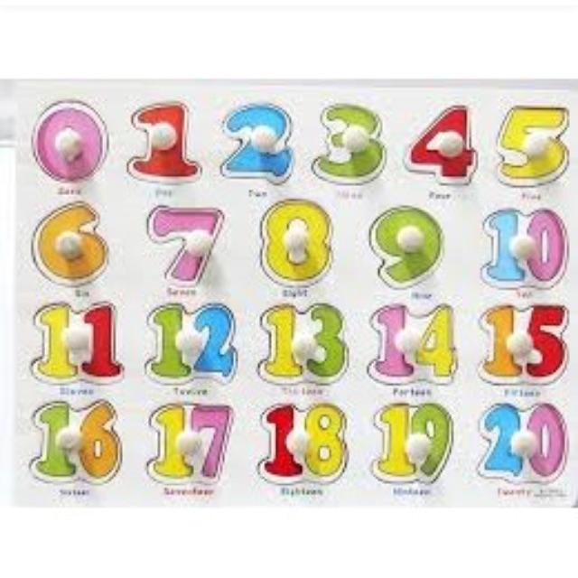 Bảng núm ghép hình số cho bé