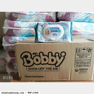 Khăn ướt Bobby không mùi 100 miếng (Xanh)—hồng