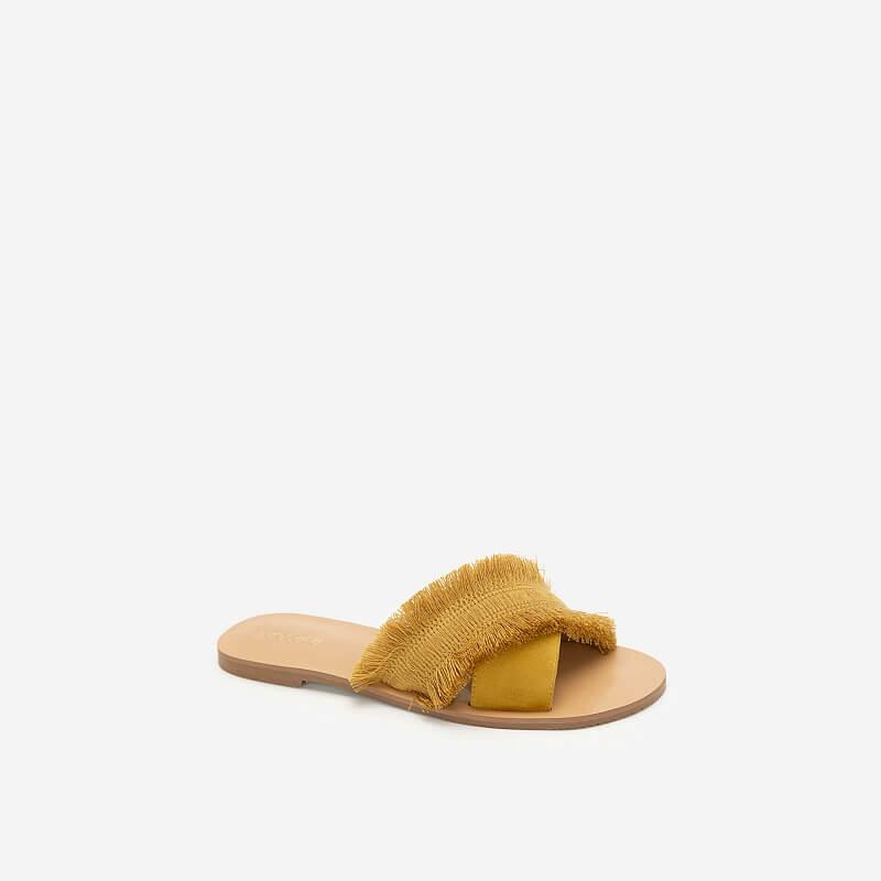 Vascara - Dép Quai Chéo Bản Lớn Boho Style - DXP 0155 - Màu Vàng