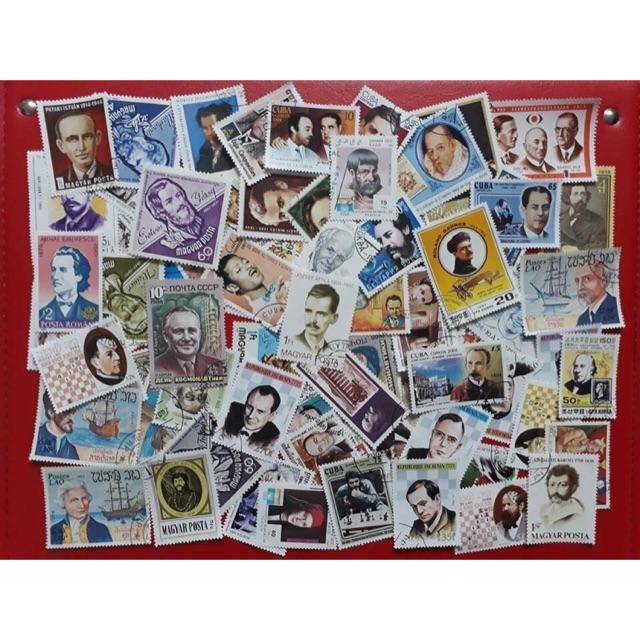 Bộ 100 con tem sưu tập khác nhau chủ đề doanh nhân