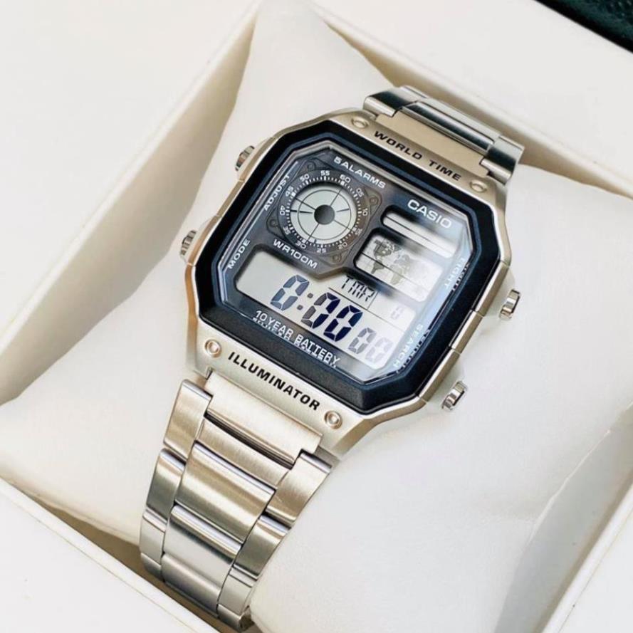 Đồng hồ nam Casio AE 1200-WHD classic phong cách, thời thượng chống nước, dây thép không gỉ 42mm