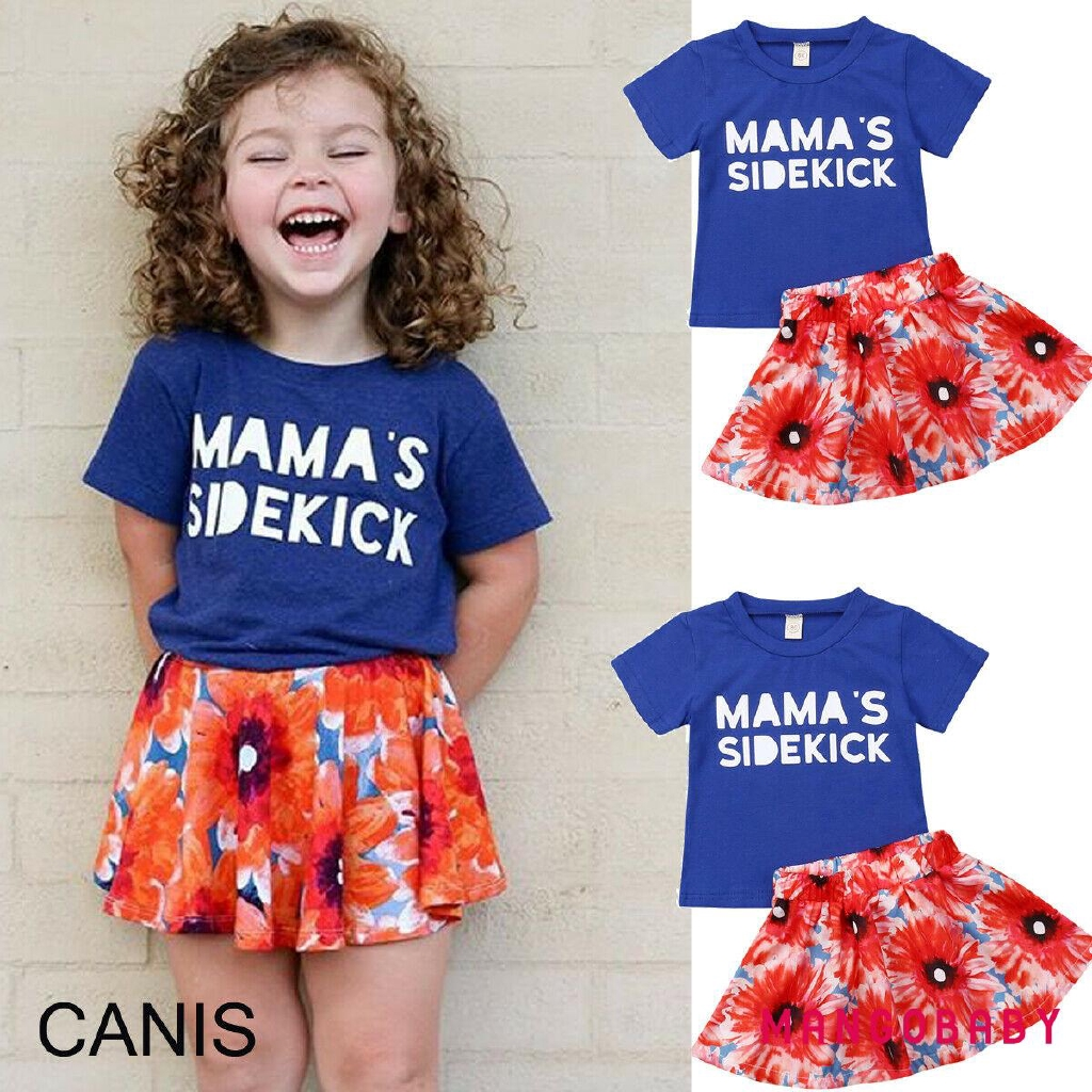 ☞MG-2PCS Kids Baby Girls Toddler T-shirt Tops+Sunflower Skirt Outfits Set Clothes