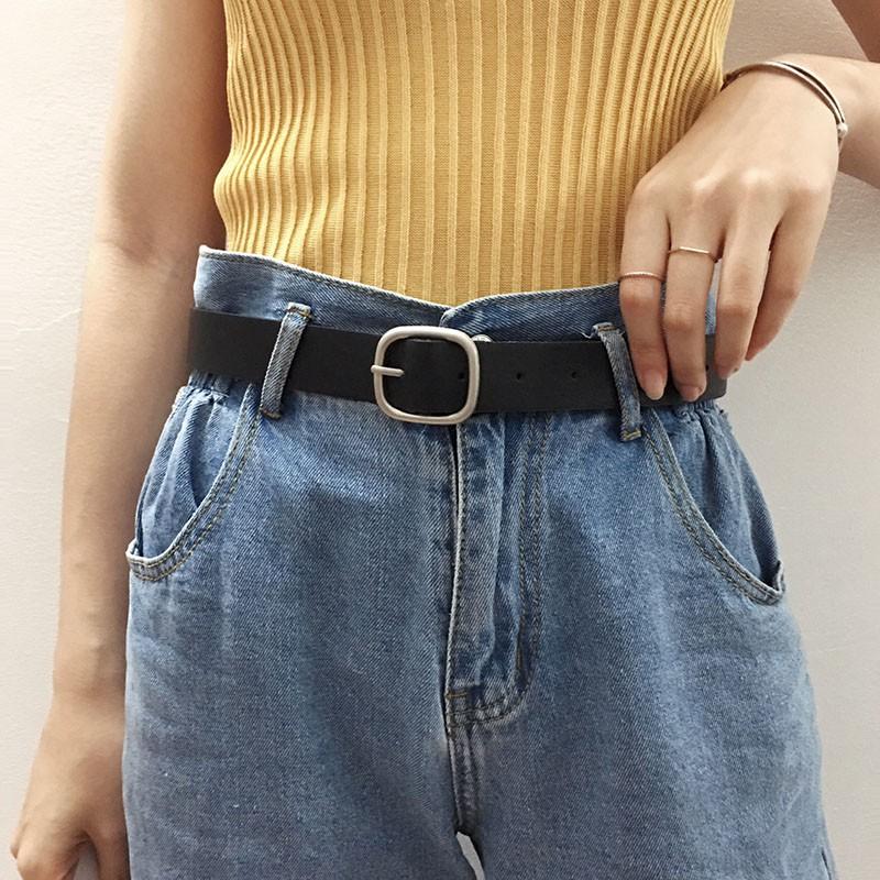 Thắt lưng da PU mặt vuông phong cách Hàn Quốc thời trang cho nữ