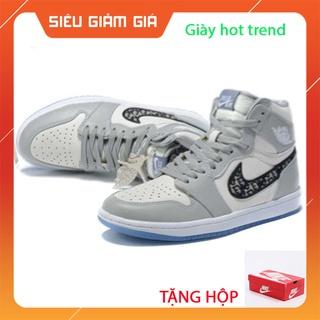 Giày thể thao nam nữ jd1 cao cổ,giày jordan 1 air dior trắng xám cao cổ thời trang giá rẻ