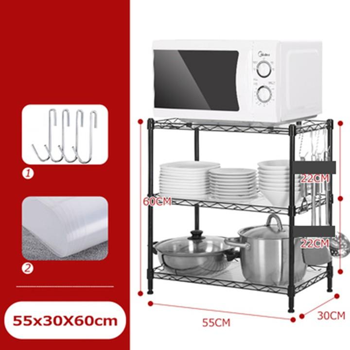 Kệ lò vi sóng - kệ để đồ nhà bếp 3 tầng 55x30x60 khung thép đen - Kệ nhà bếp