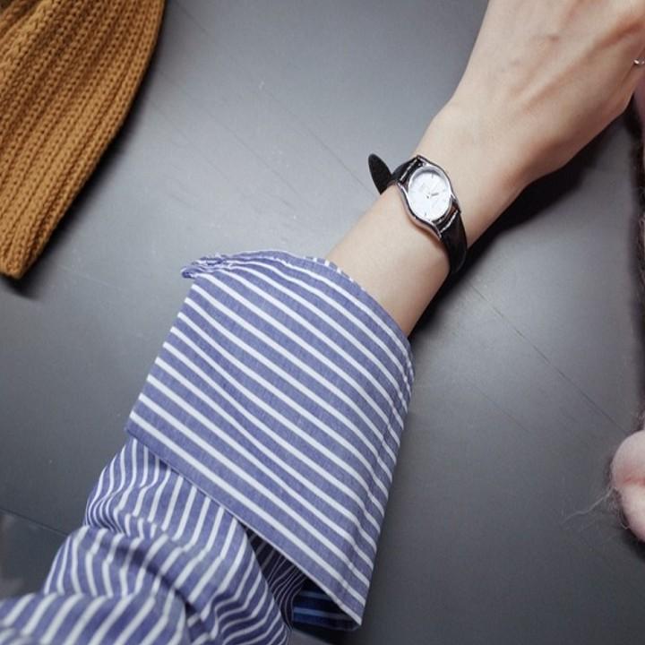 Áo sơ mi kẻ tăm xanh cổ đức, tay dài - ASMN19.0005XD | WebRaoVat