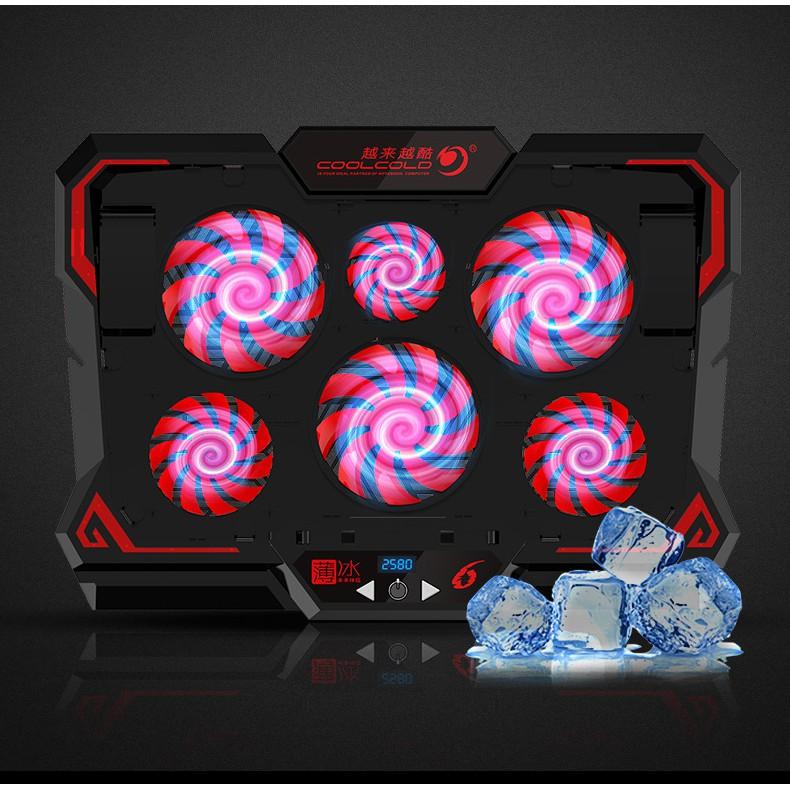 Đế tản nhiệt laptop COOL 6 2580RPM Màn hình điều khiển quạt làm mát nhanh quạt tản nhiệt gaming đèn led Macbook Asus ...