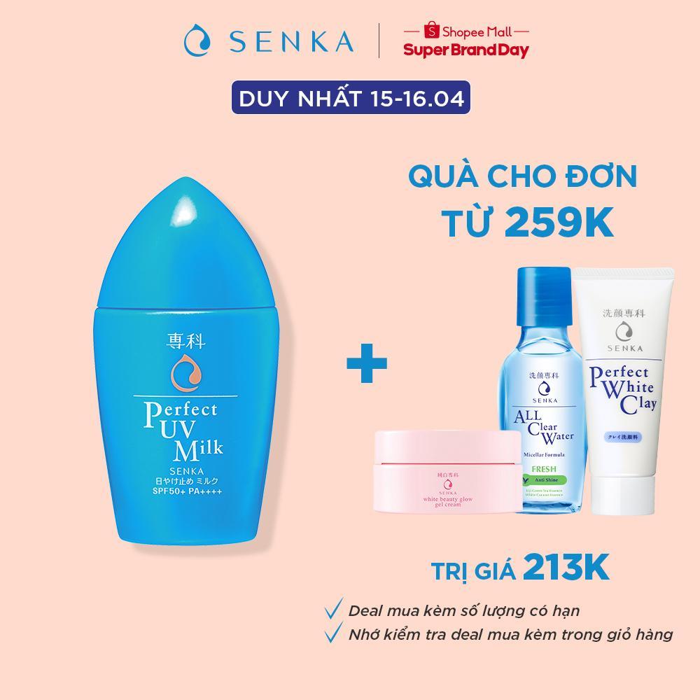 [Mã FMCGMALL giảm 8% Tối đa 80K đơn 250K] Kem chống nắng dạng sữa Senka Perfect UV Milk 40ml