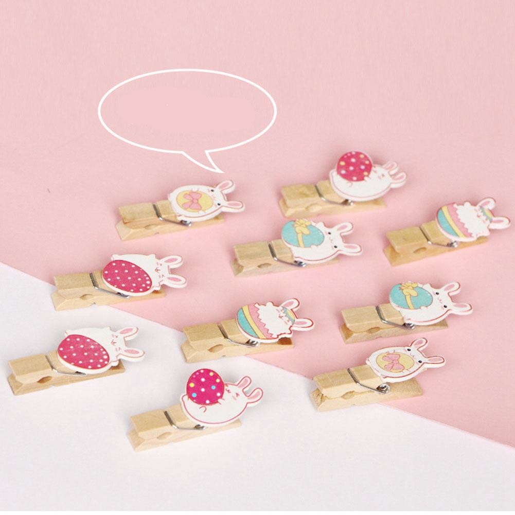 10pcs/set Wooden Craft Cartoon Memo Bunny Message Party Decoration Easter Holder DIY Lovely Photo Clips