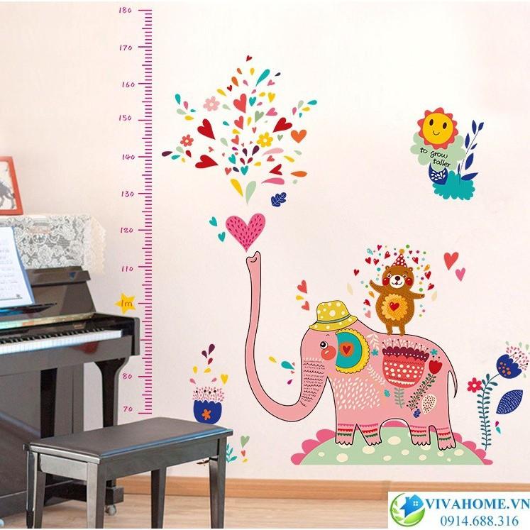 Decal dán tường đo chiều cao voi hồng ( 1m6*1m4)