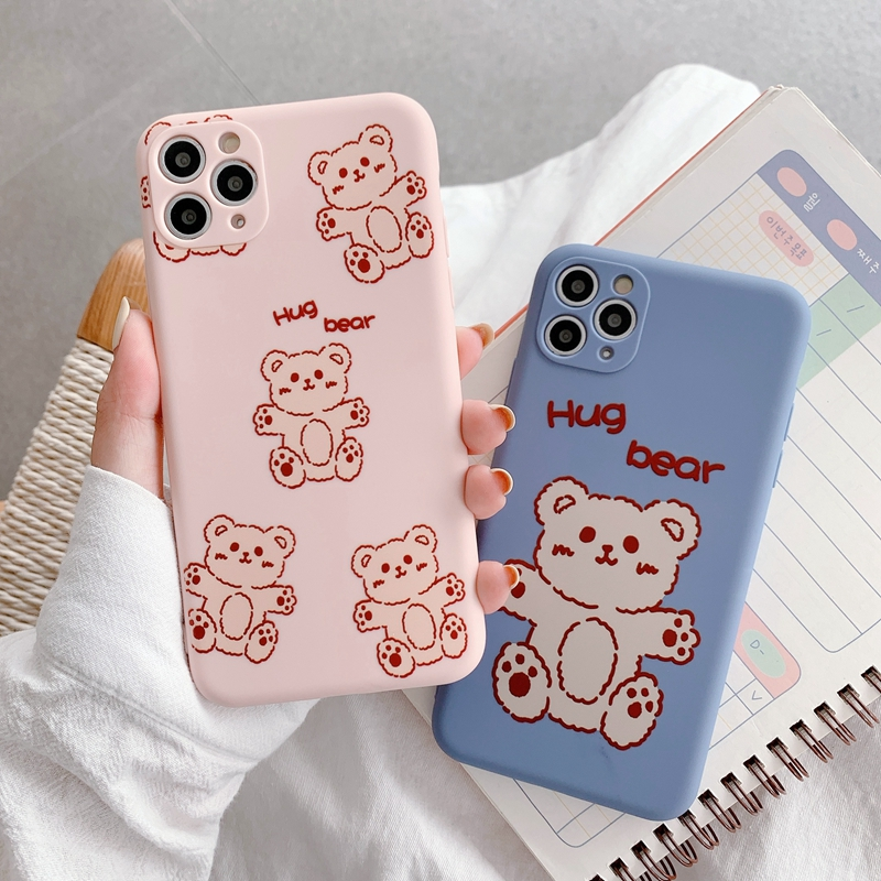 Pink Bear Casing IPhone 11 SE 2020 Case iphone 11 Pro Xs Max iphone XR phone Case IPhone 6 6s 7 Plus 8 Soft Cover simple candy colors, cute for women men couple