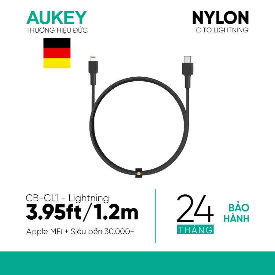 Cáp Sạc Nhanh iPhone C To Lightning Aukey CB-CL 1,2m MFi, PD 18W, Bện Nylon 2 Lớp