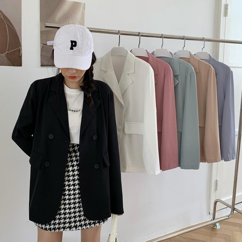 Áo Khoác Vest Màu Đen Dáng Rộng Phong Cách Thời Trang Hàn Quốc 2020 Dành Cho Nữ