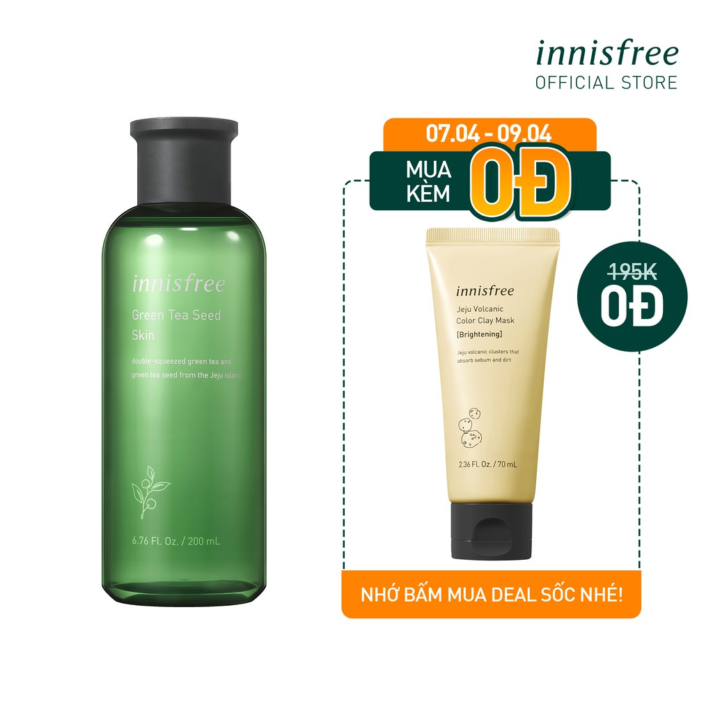 [Mã FMCG10 - 10% đơn 250K] Nước cân bằng độ ẩm innisfree Green Tea Seed Skin 200ml