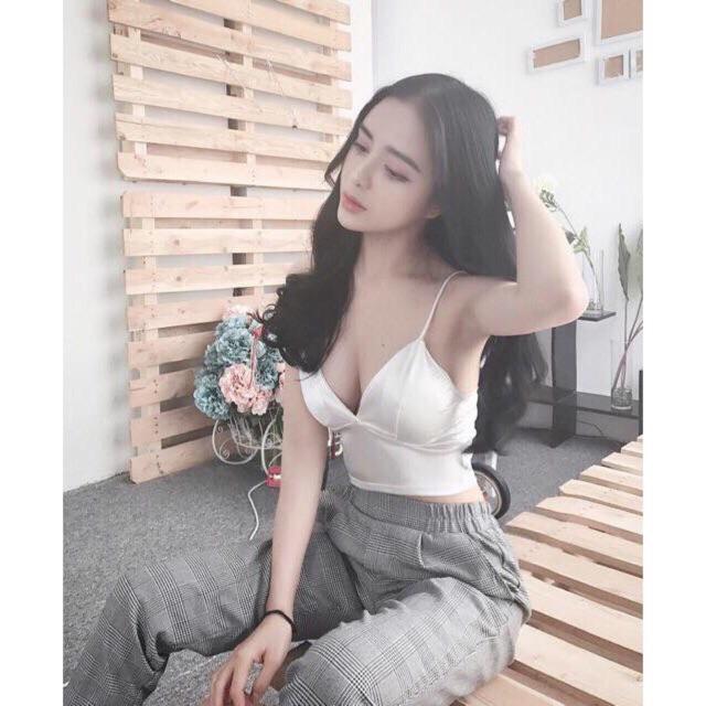 Áo bra chất Silk hàng đẹp full màu đen trắng