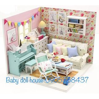Mô hình nhà búp bê doll house phòng khách kẹo ngọt