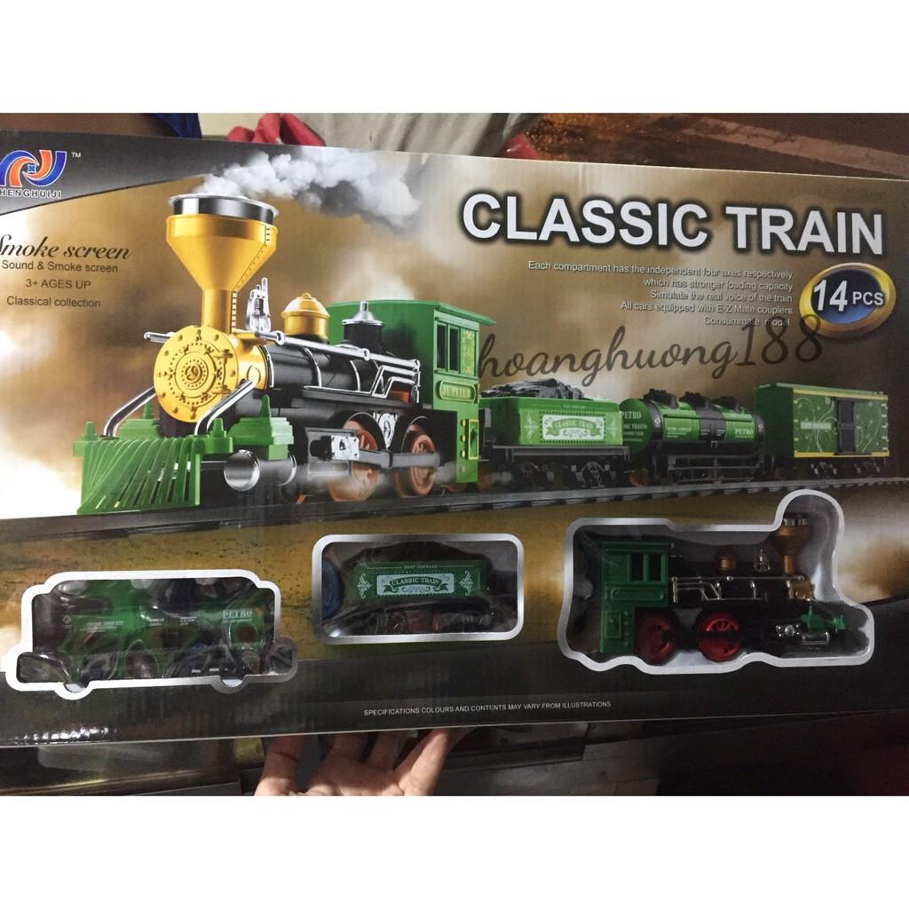 đồ chơi tàu hoả chạy trên đường ray classical train