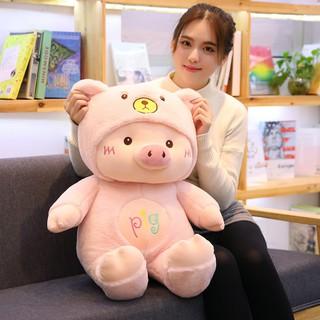 [Size Lớn 60 SALE SỐC] Gấu Bông Heo Con PIG Áo Bông Có Mũ Chùm Đầu Siêu Mềm Mịn Size 60cm