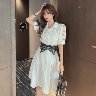 French first love skirt female 2020 summer new temperament butterfly lace stitching with girdle shirt collar dress
