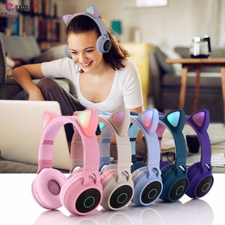 Tai nghe mèo - Tai nghe tai mèo BT028C tich hợp Mic, công nghệ bluetooth 5.0, có thể cắm dây cho PC, âm Bass mạnh