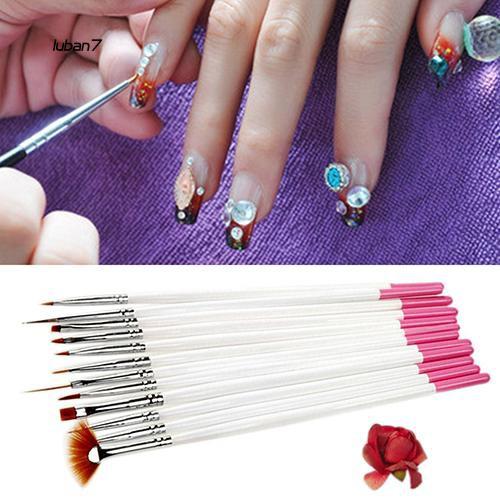 Luban♥12x Nail Art Polish Painting Draw Pens Brush Tips Tools Set UV Gel Nail Brushes