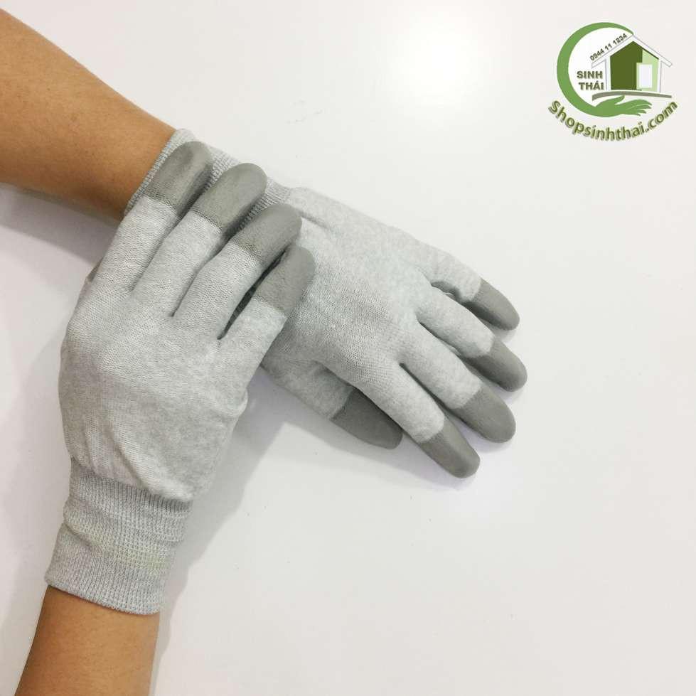 Găng tay vải thun phủ cao su đầu ngón màu xám