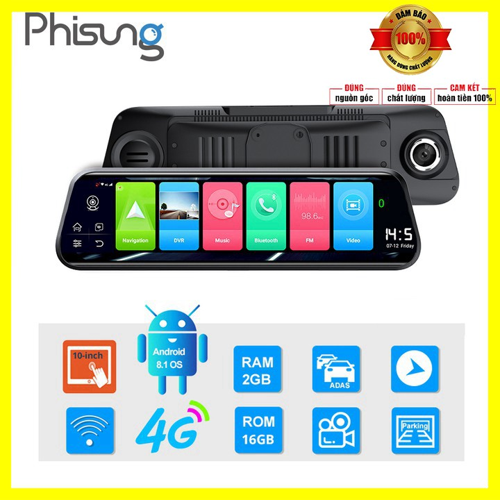 Camera hành trình gắn gương ô tô thương hiệu cao cấp Phisung 4G, Wifi, 10 inch, dẫn đường Navitel - Bảo Hành 12 tháng