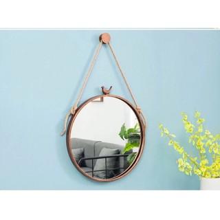 Gương tròn treo tường – dây thừng lớn vintage