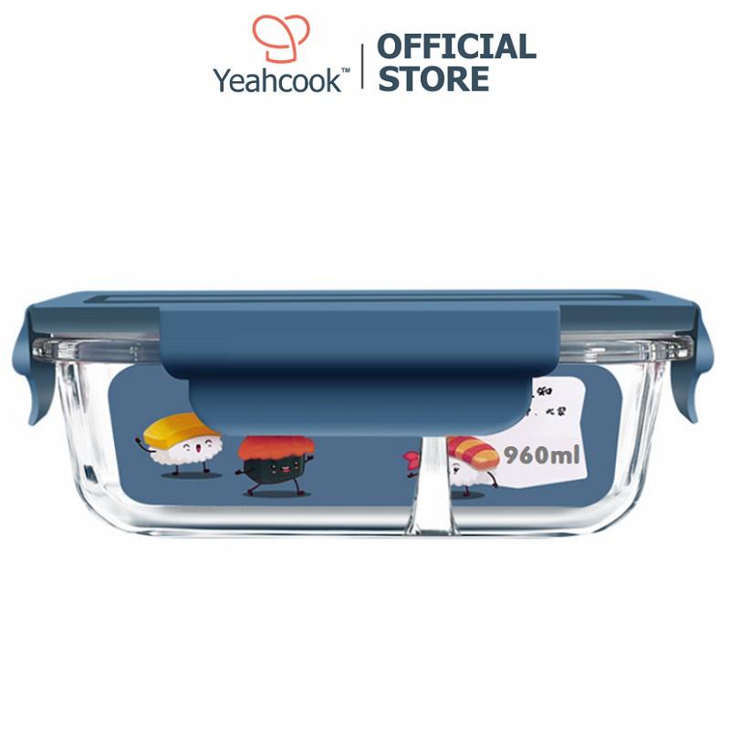 Hộp cơm thủy tinh chia ngăn cao cấp Yeahcook Glass Lunch Box